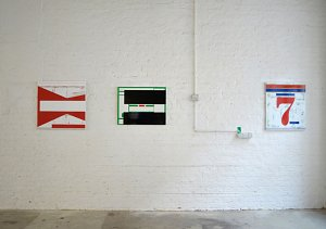 Ronald de Bloeme - from right: ›Lucky seven‹, ›Neue Identität I‹, ›Route II‹ - all enamel on canvas, 2012 - courtesy Hamish Morrison Galerie, Berlin