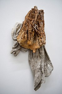 Astali / Peirce - untitled (head) - stalactite, found T-Shirt - 2013